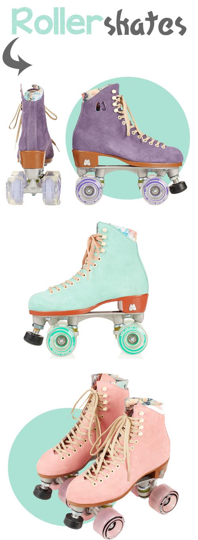 rolschaatsen, rollerblades, skates, vintage, mint, green, purple, suede, pink