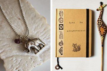 reiskaartjes en sieraden van olifanten en andere dieren