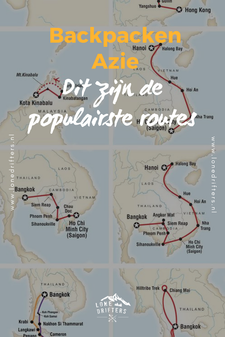 Routes op een kaart van Azie