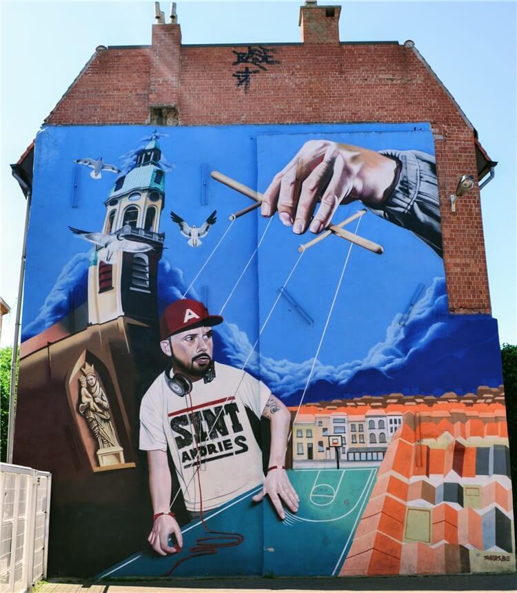 Smates streetart mural gebouw