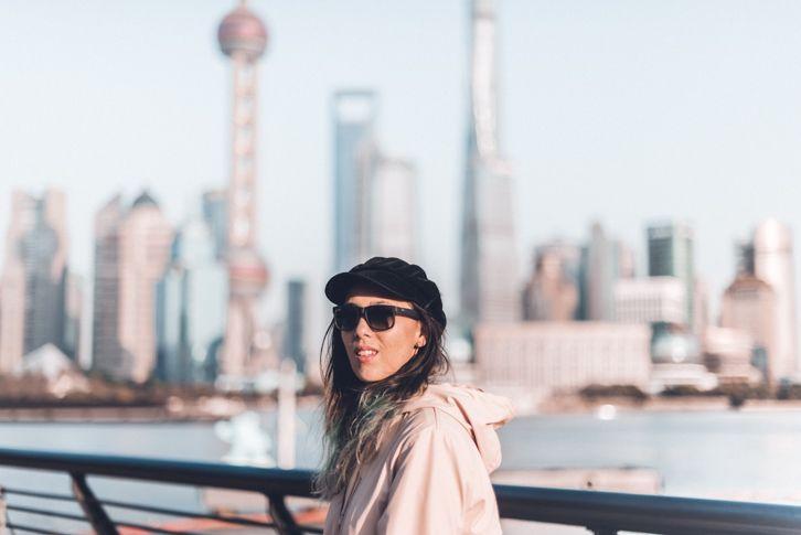 Uitzicht over skyline Shanghai