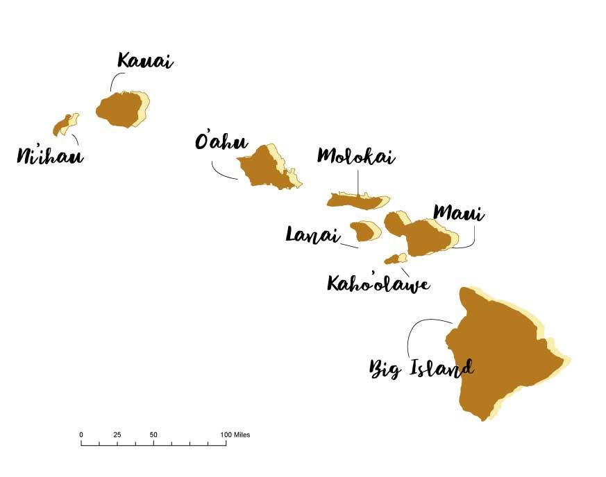 Hawaii kaart