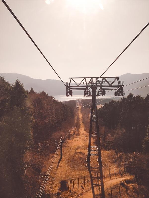 in de gondola bij Hakone
