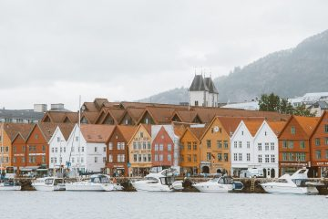 bryggen, gekleurde huisjes in Noorwegen