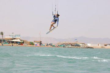 kiteboardster in actie